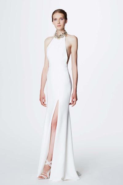 robe de soirée blanche longue fendue col américain