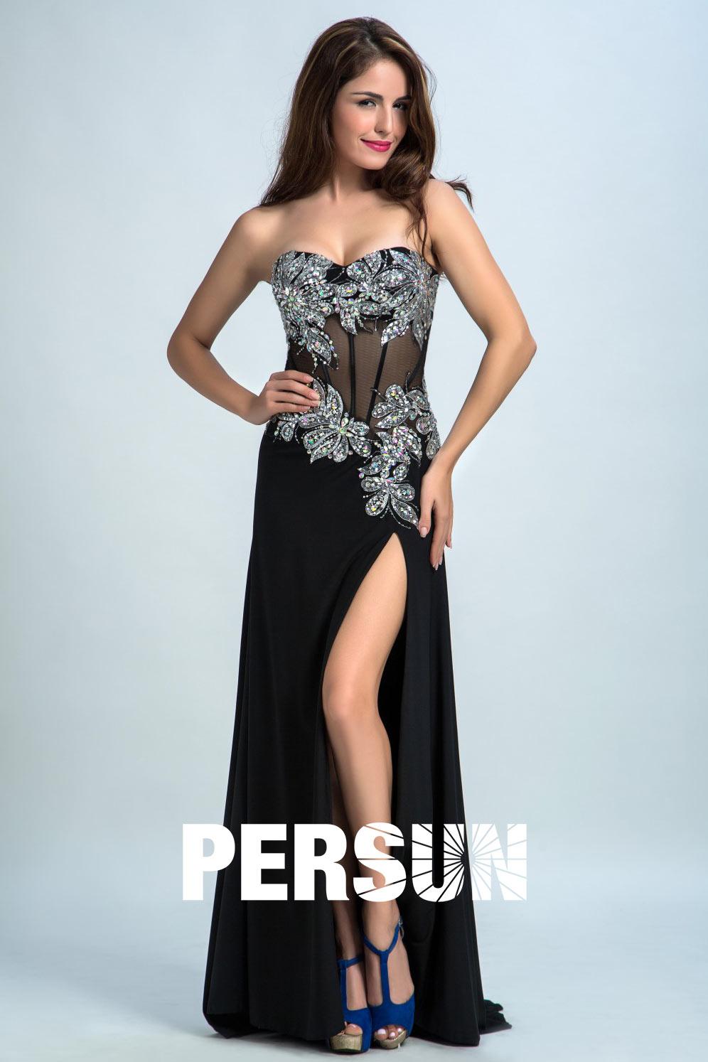 robe de soirée noire sexy corsage brodé avec fente