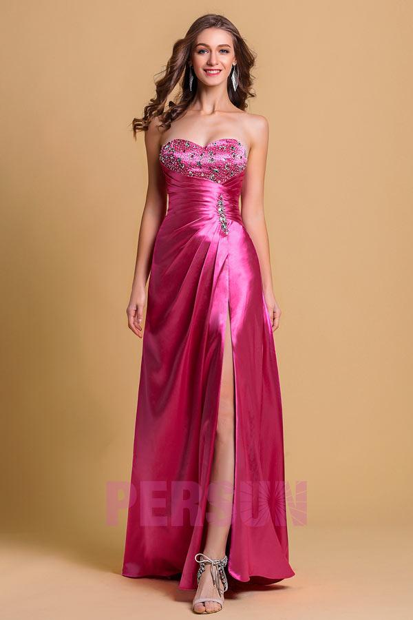 robe fuchsia pas cher longue bustier coeur orné de strass avec fente