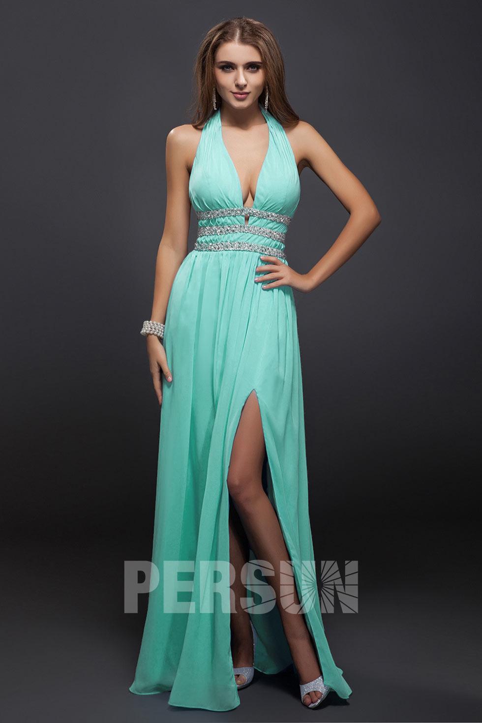 robe turquoise longue fendue halter dos nu