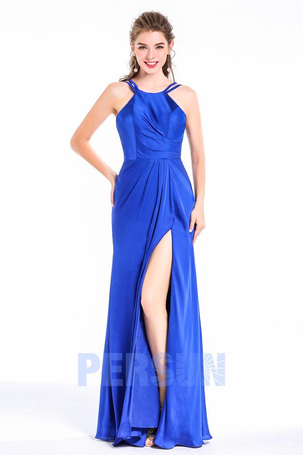 robe de gala bleu longue fendue col américain