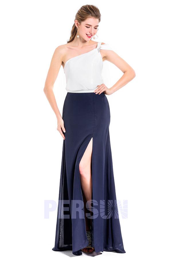 robe de soirée bicolore asymétrique avec fente
