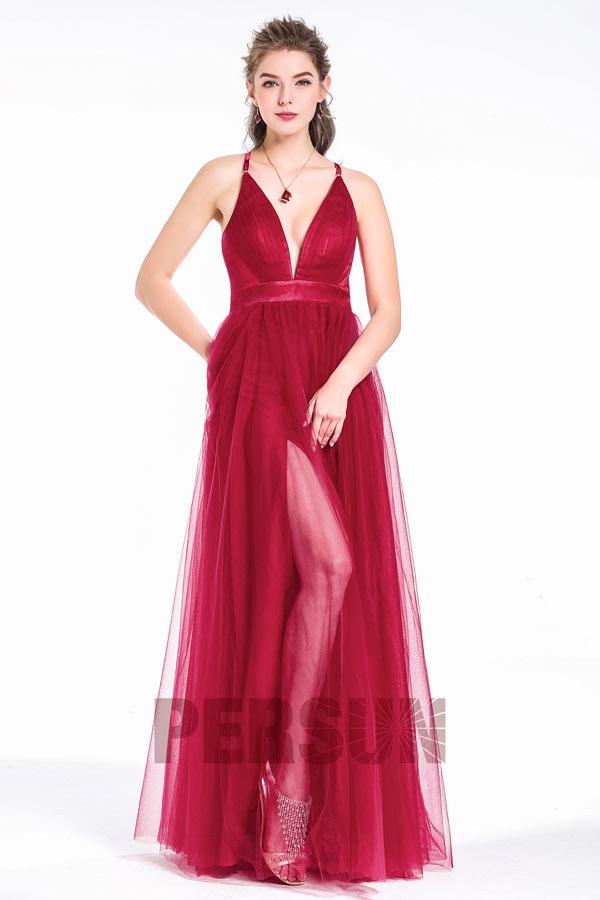 robe de soirée bordeaux fendue longue col en V