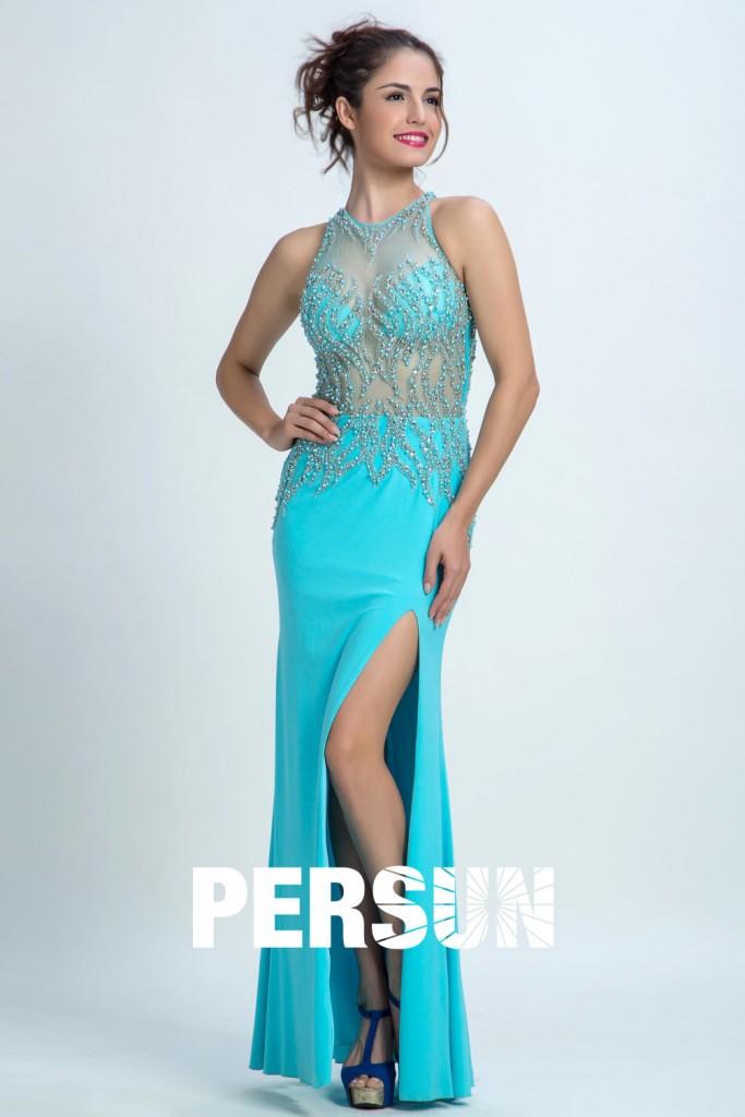 robe de soirée turquoise longue fourreau fendue orné de strass