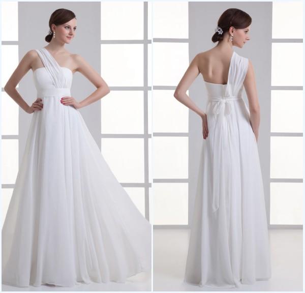 robe longue de soirée blanche asymétrique en mousseline