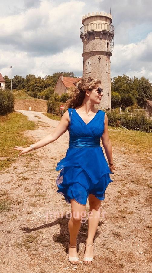 avis client de robe bleu courte pour mariage