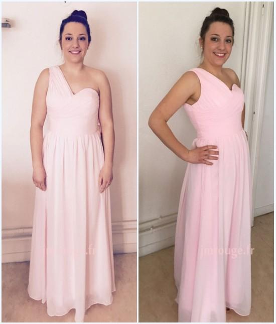 robe rose poudré asymétrie plissé pour cérémonie de mariage