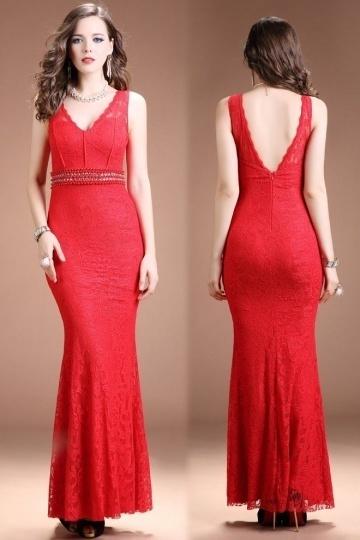 robe de soirée rouge longue fourreau col & dos échancré en V