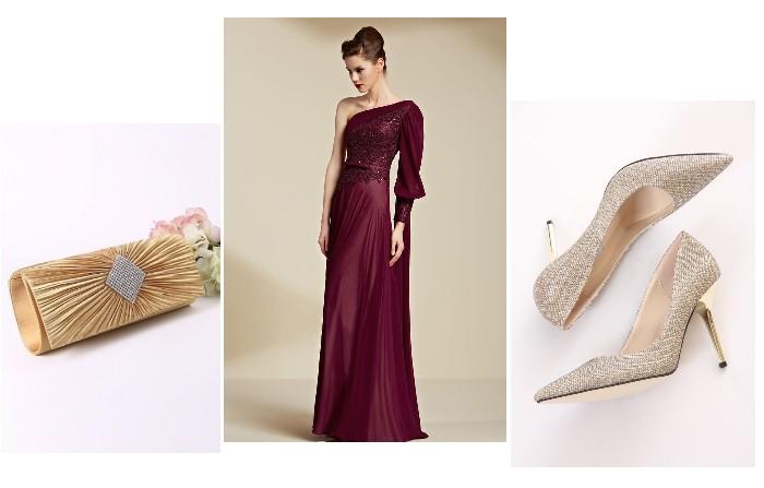 sac et escarpins assortis pour la robe de soirée bordeaux asymétrique longue