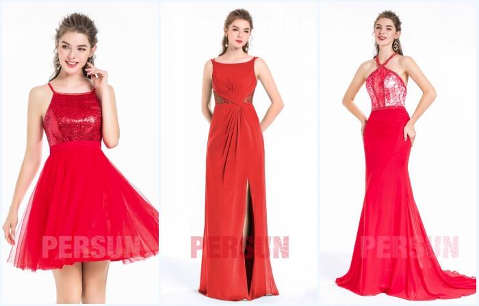 robe rouge patineuse courte, robe rouge longue de soirée ligne A et robe de gala rouge sirène