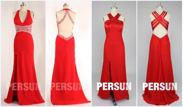 robes rouges fendues de soirée dos découpé
