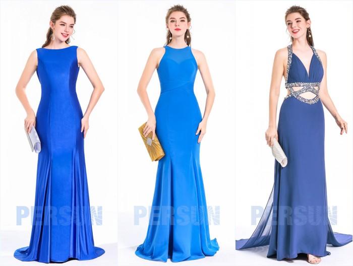 robes de soirée sirène lognues bleues 2018