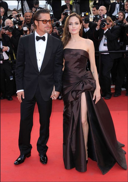 robe de soirée noire fendue bustier droit Angélina Jolie
