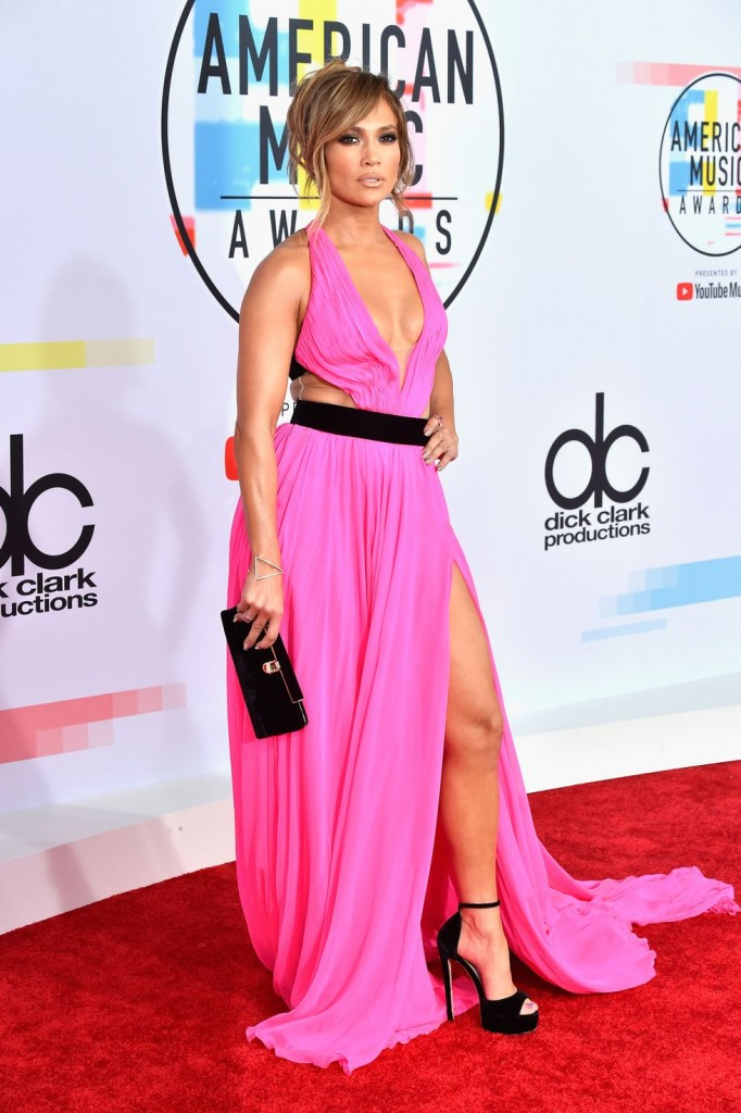 robe de soirée rose fendue sexy Jennifer Lopez