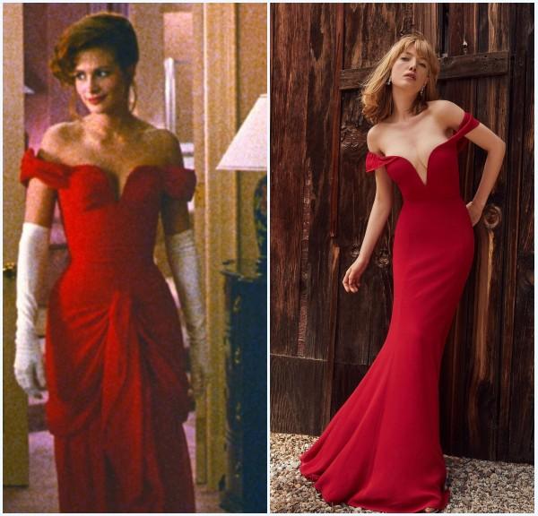 """La robe de soirée rouge épaule dénudé style  Julia Roberts dans """"Pretty Woman"""""""