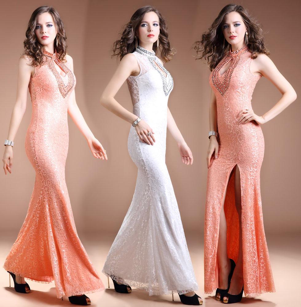 robe de soirée sexy sirène fendue orné de strass