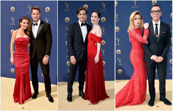 robes de célébrité rouges longues sur tapis rouge Emmys 2018