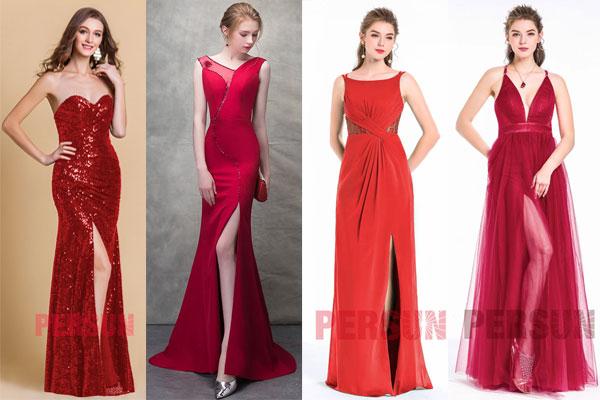 robes longues de soirée rouges avec fente