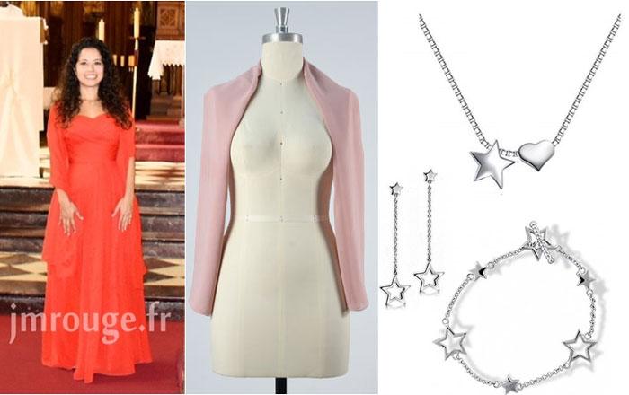 robe bustier longue, étole rose et bijoux de star