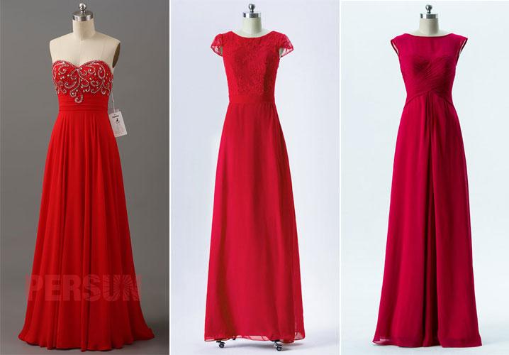robes longues rouge pour cérémonie mariage