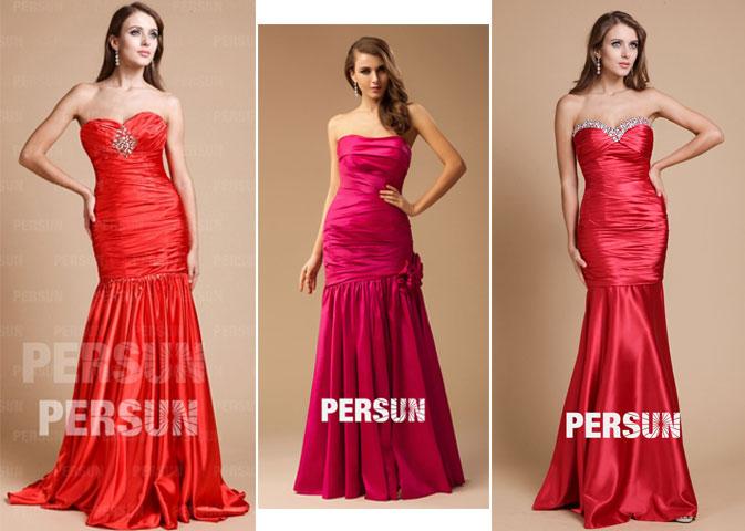 robes de soirée bustier sirène plissé