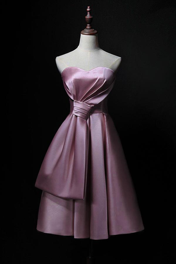 robe soirée rose courte pour mariage bustier coeur onré d'un grand noeud