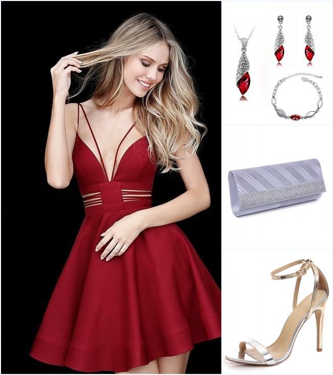 petite robe rouge et accessoires assortis