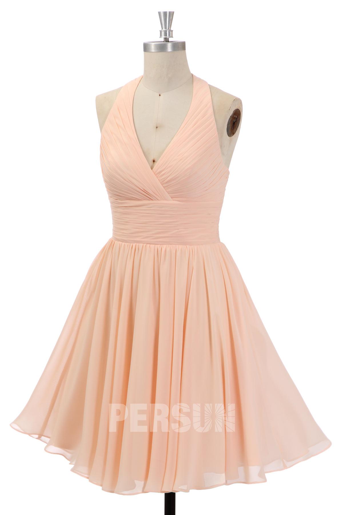 robe de soirée rose nude courte halter