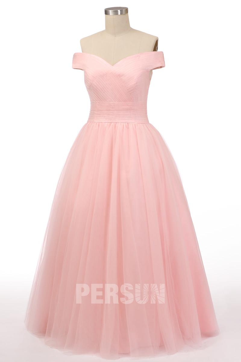robe de soirée rose princesse épaule dénudé en tulle