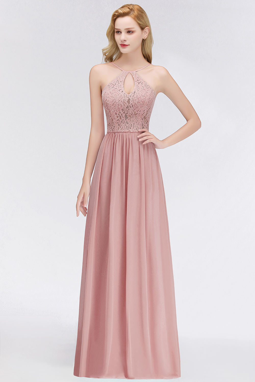 robe de soirée rose à haut en dentelle