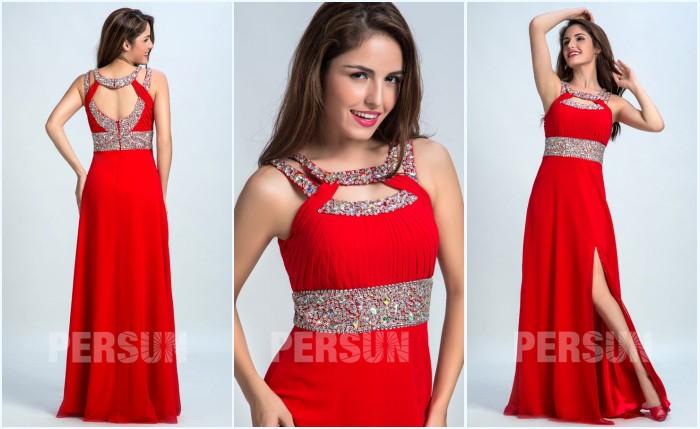 robe de bal rouge fendue strassé et dos découpé
