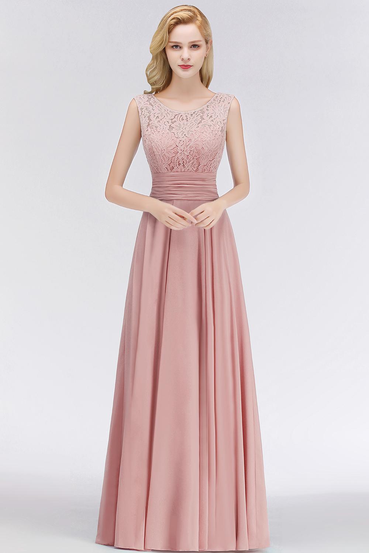 robe soirée rose pour mariage longue encolure ronde en dentelle