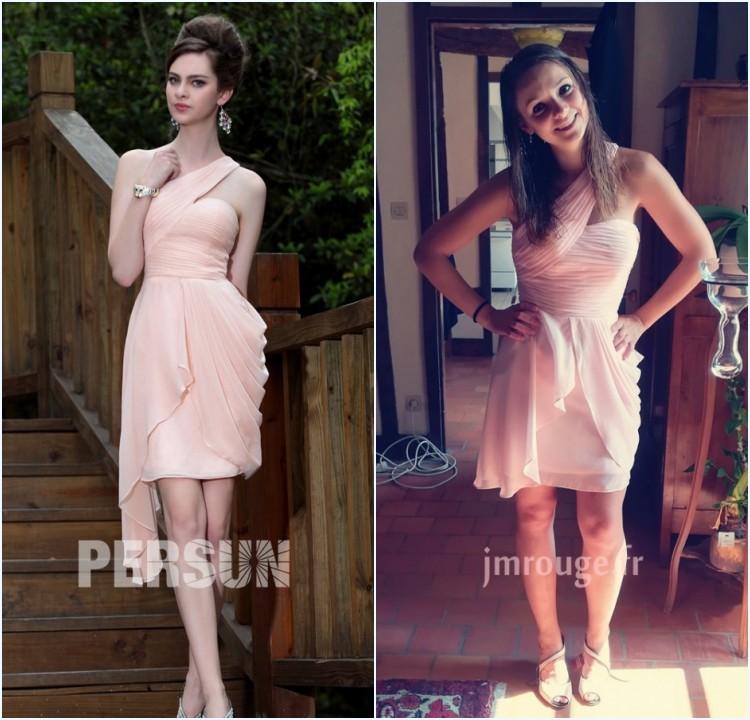 robe de soirée rose fourreau asymétrique plissé