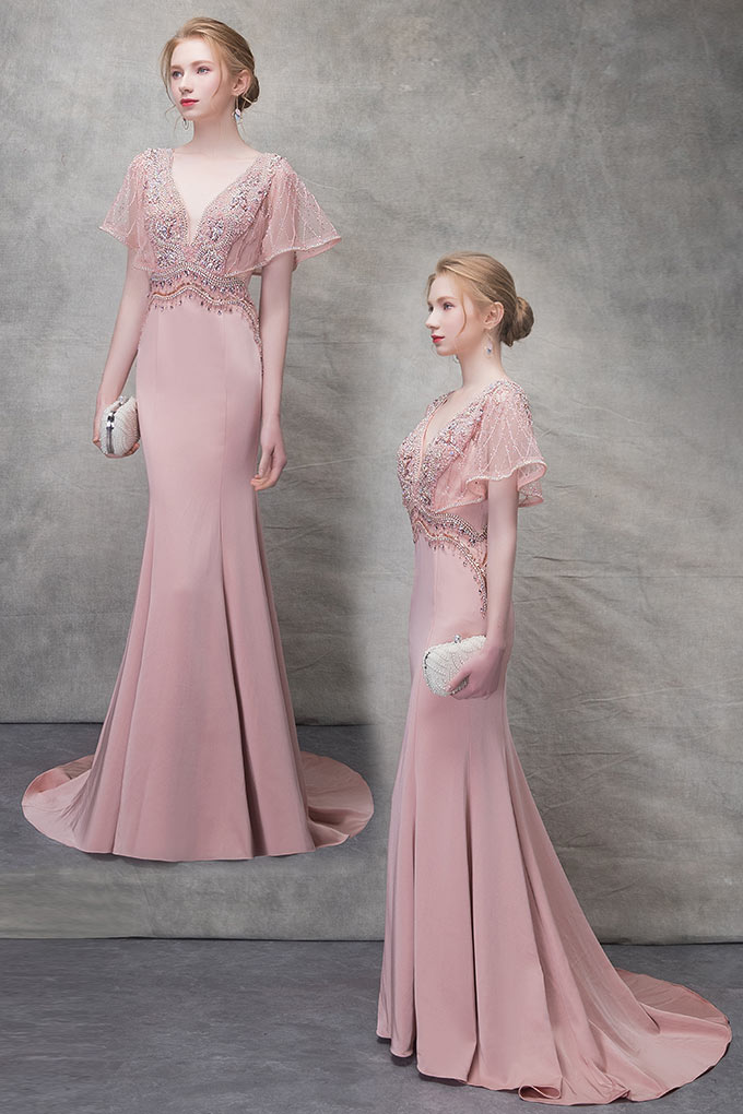 robe de soirée rose sirène 2019 embelli de bijoux