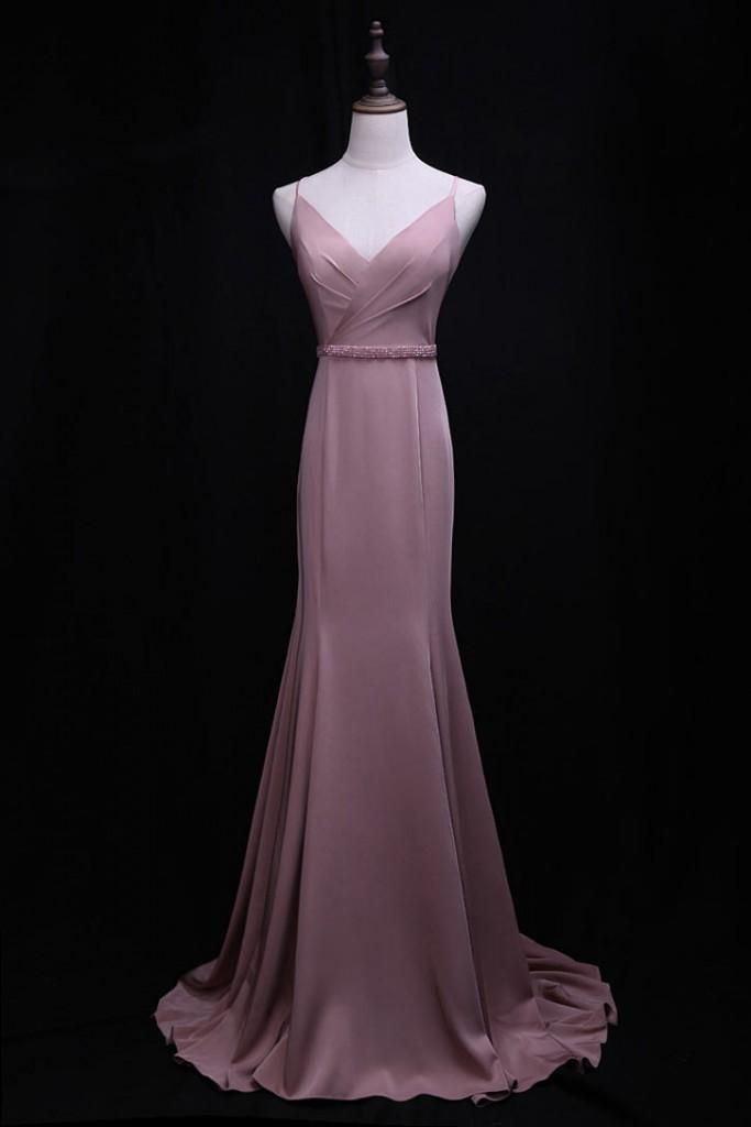 robe de soirée rose sirène simple