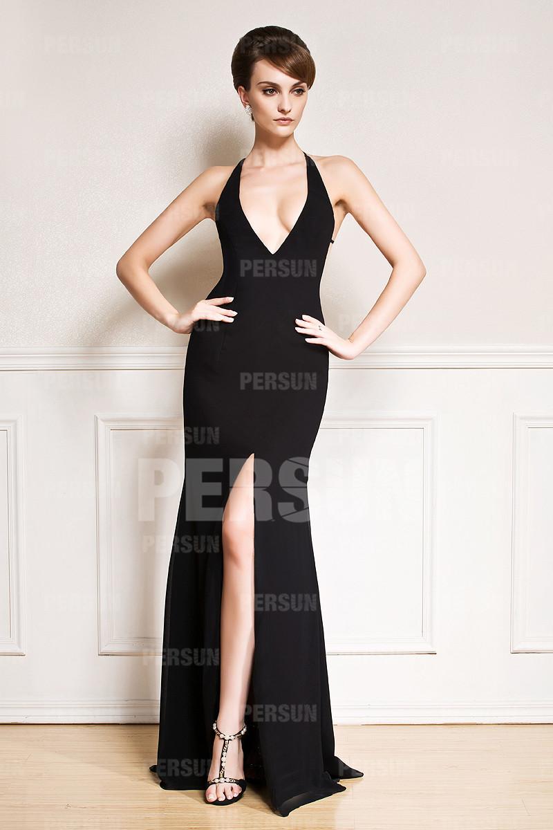 robe de soirée noire fendue sexy halter