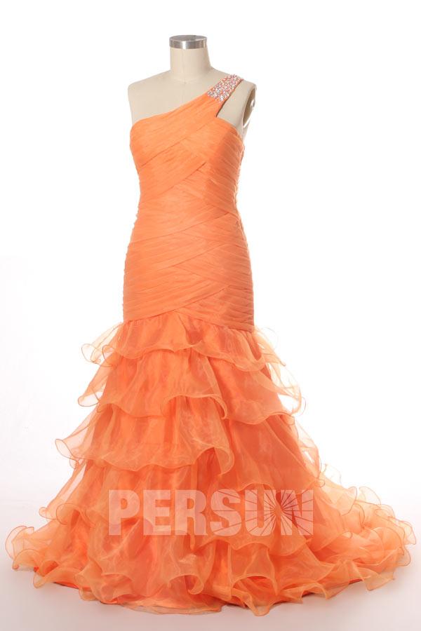 robe de soirée orange asymétrique jupe à volants