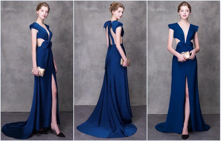 robe fendue longue bleu 2019 pour soirée