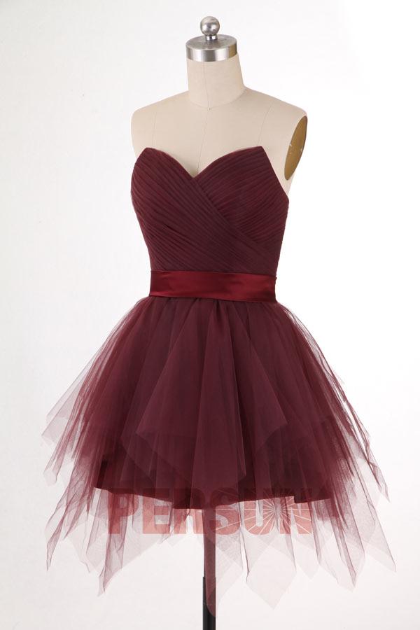 robe de cocktail tutu bourgogne jupe évasée