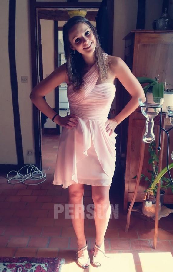 robe de soirée rose asymétrique plissé courte
