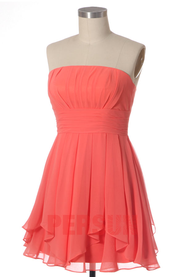 robe demoiselle d'honneur corail bustier droit simple
