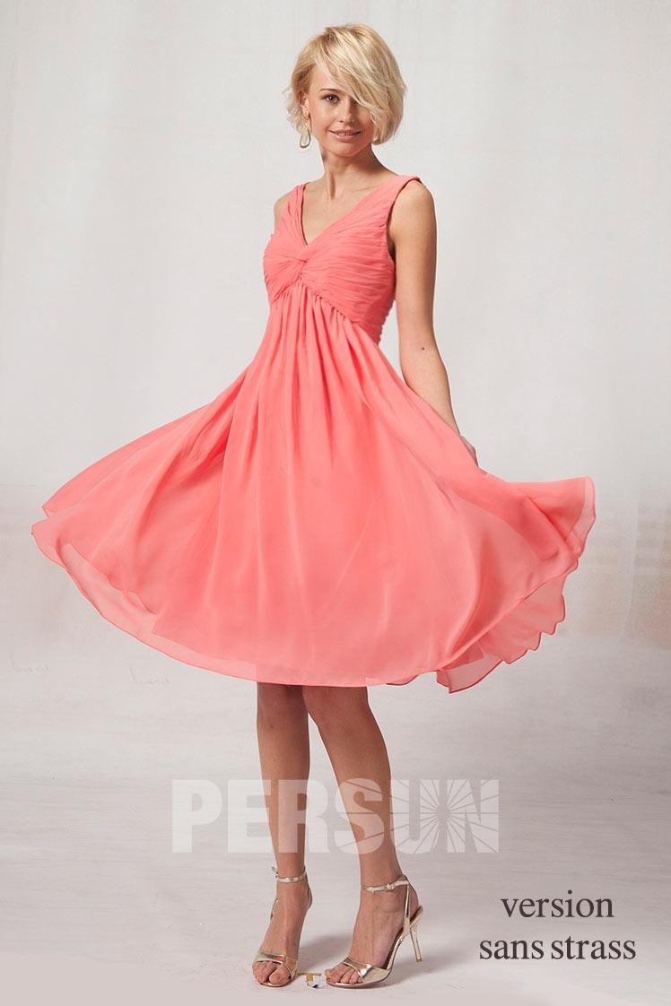 robe demoiselle d'honneur col V plissé