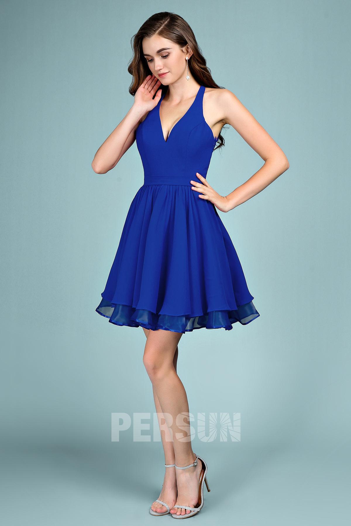 robe de bal bleu courte col halter