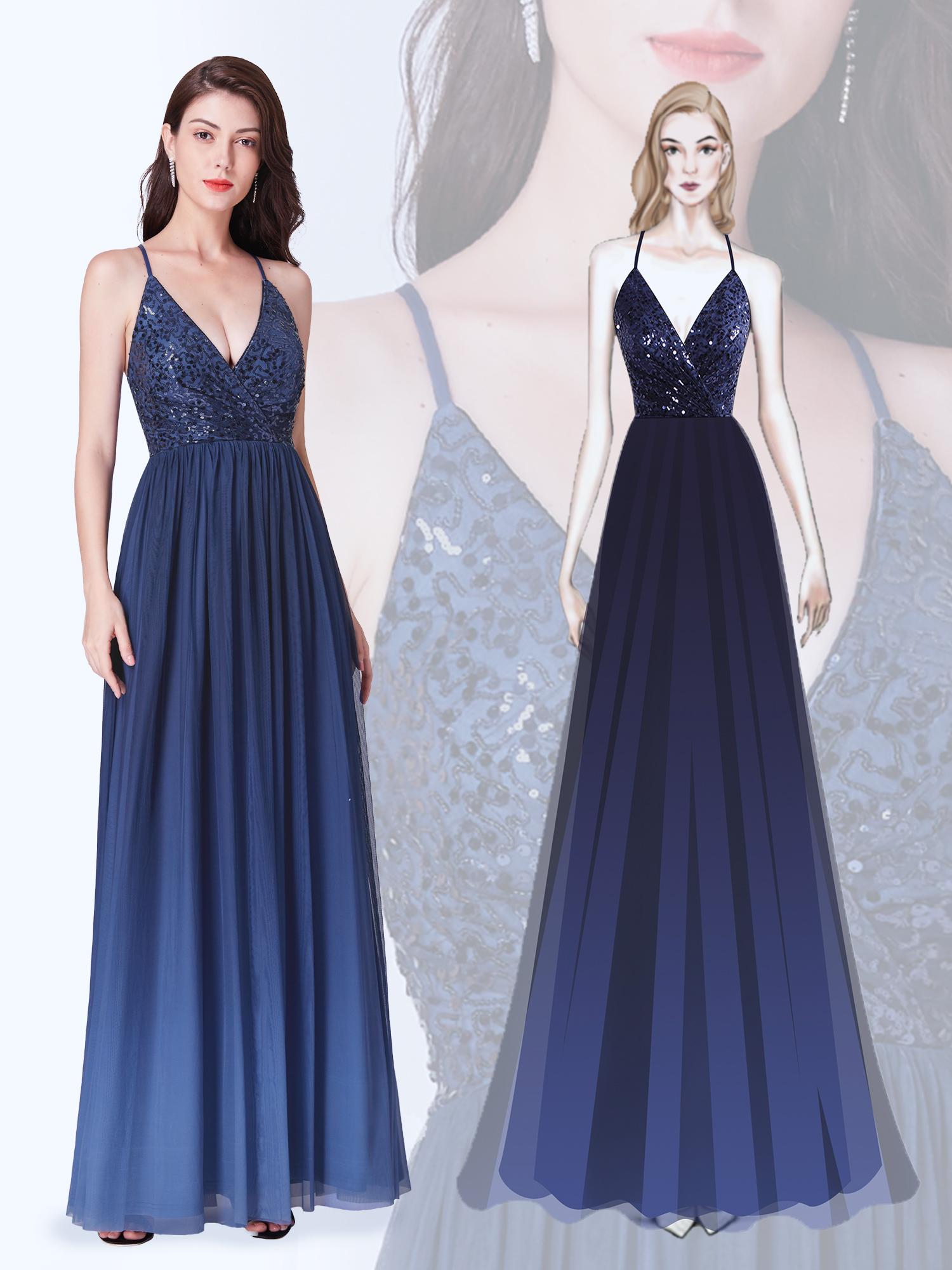 robe de soirée bleu longue col en V