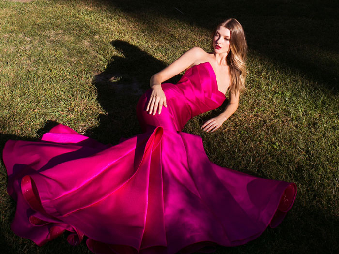 robe de soirée fuchsia bustier coeur trompette