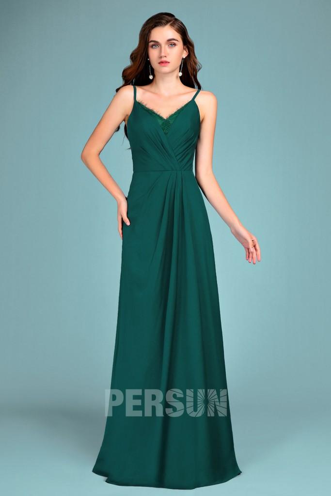 robe de soirée verte longue col en V empiècement dentelle