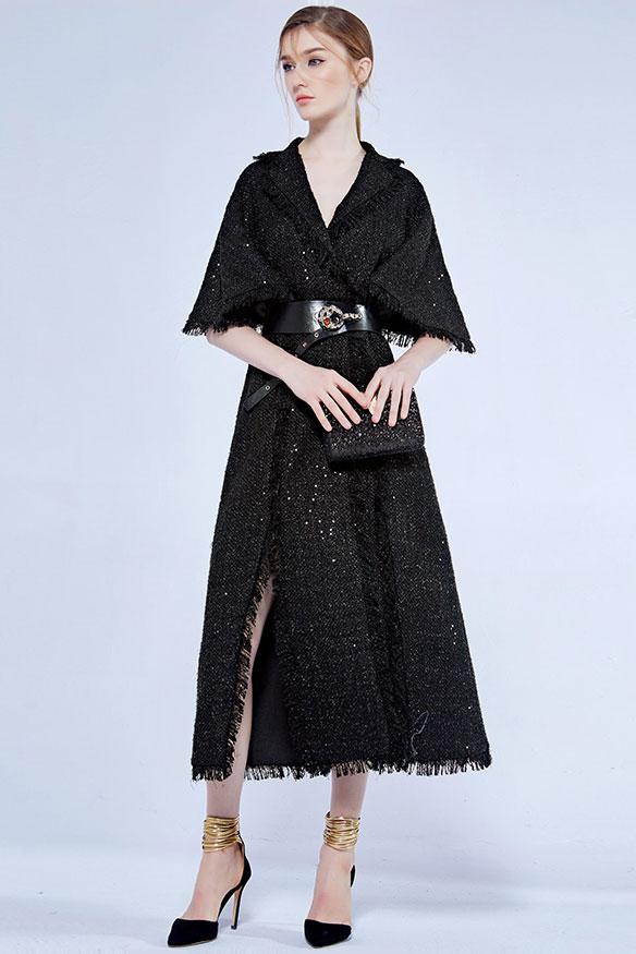 robe de soirée noire col V avec manche