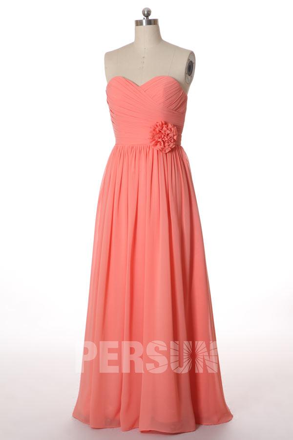 robe corail bustier coeur pour mariage orné de fleur
