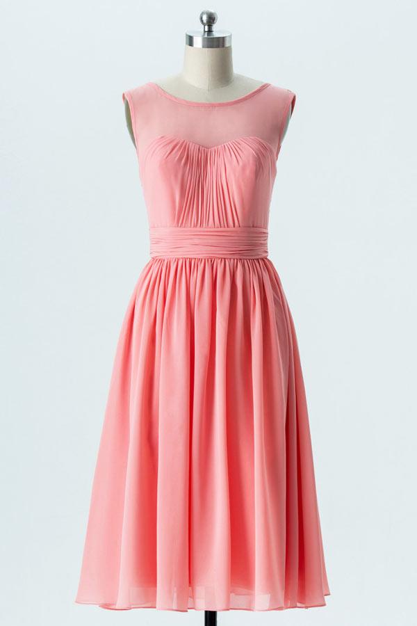 robe demoiselle d'honneur corail encolure illusion plissé