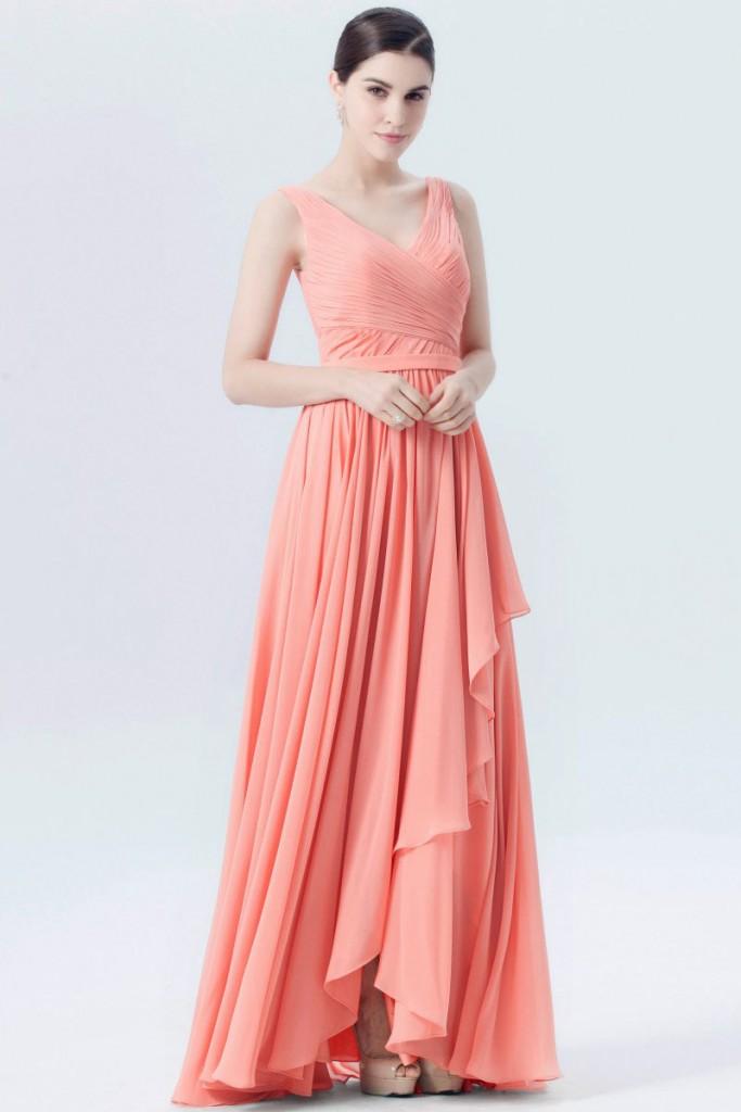 robe demoiselle d'honneur corail longue col en V plissé